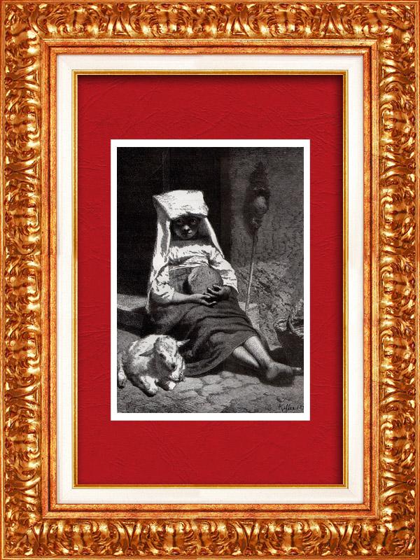 Gravures Anciennes & Dessins   Petite Mendiante à Rome (Italie)   Gravure sur bois   1877