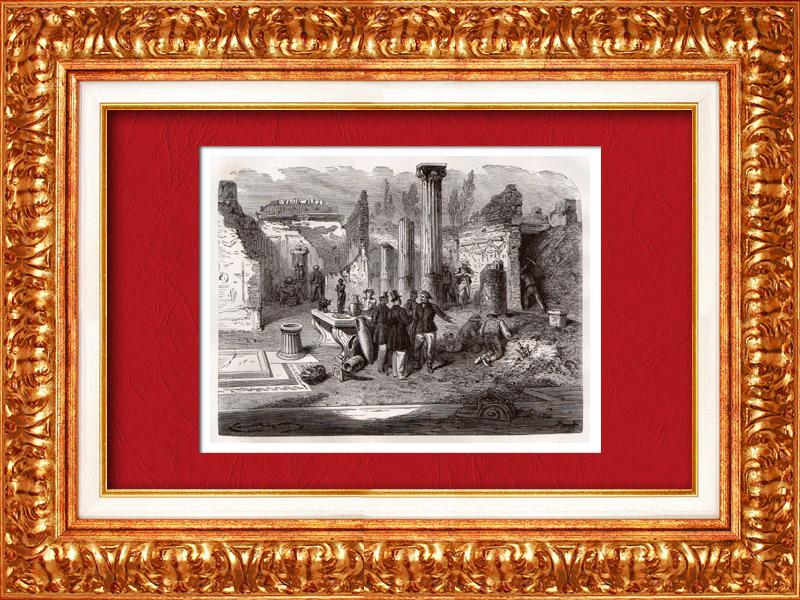 Gravures Anciennes & Dessins | Vue de Pompei - Archéologie - Travail des Fouilles (Italie) | Gravure sur bois | 1877
