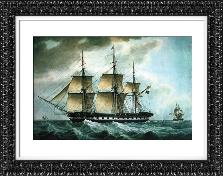 Antique Prints & Drawings | Boat - Vassel - Sailboats - The Dutch Float in the Mediterranean - Leader Squadron - Dutch Frigate with 40 Cannons | Lithography | 1960