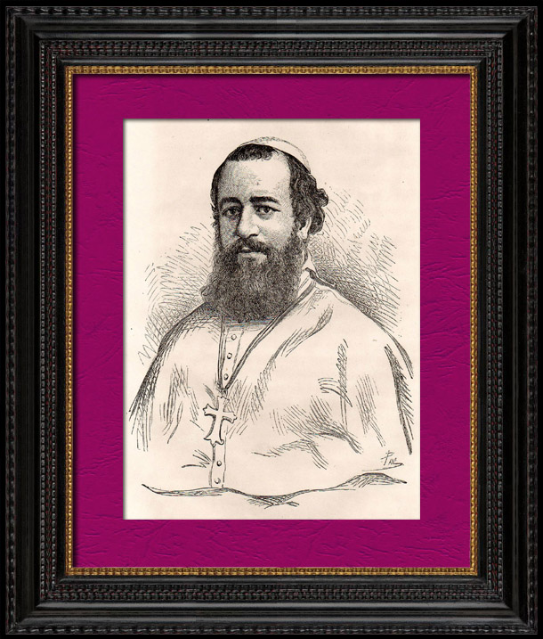 Antique Prints & Drawings | Portrait of Mgr Zanoli - Catholic Missionaries - Eastern Hou-Pé (Ancient China) | Wood engraving | 1896