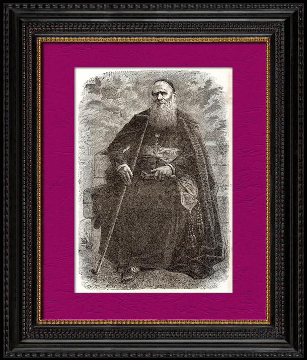 Antique Prints & Drawings   Portrait of Mgr Massaja - Bishop - Eastern Africa    Wood engraving   1896