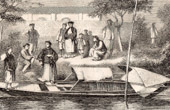 Mgr J.M. Chausse in the boat - Catholic Missionary in Benin (West Africa)