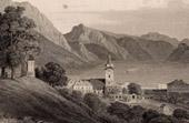 View of Gmunden (Austria) - Cloister - Calvary - Golgotha