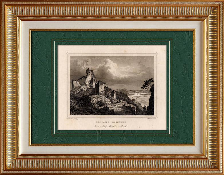 Gravures Anciennes & Dessins | Vue de Limburg an der Lahn  - Vestiges du Château Fort - VIIème Siècle | Taille-douce | 1860