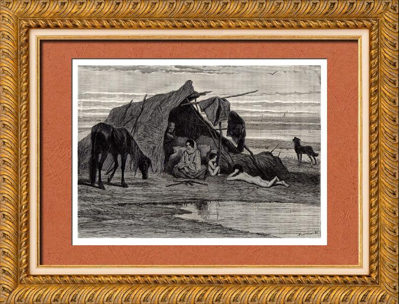 Gravures Anciennes & Dessins | Tsiganes dans la Puszta (Hongrie) - Campement | Gravure sur bois | 1882