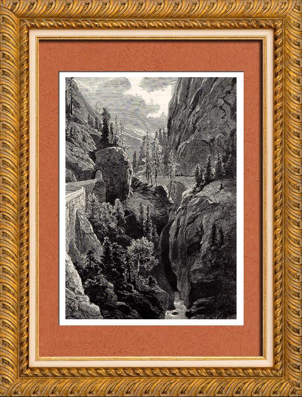 Gravures Anciennes & Dessins   Vue des Gorges de la Via Mala (Suisse) - Canton des Grisons   Gravure sur bois   1882