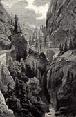 View of Gorge of Via Mala (Switzerland) - Canton of Graub�nden - Grisons