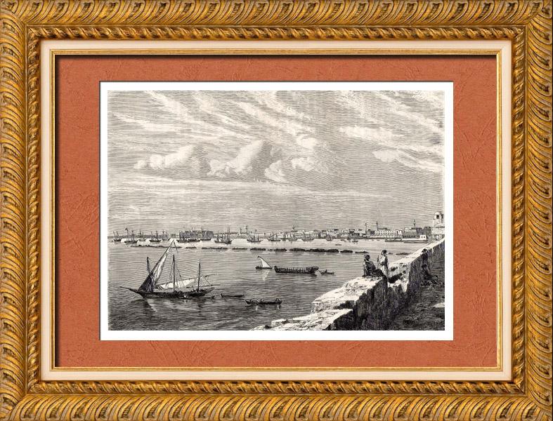 Stampe Antiche & Disegni | Veduta di Tripoli (Libia) - Afrika - Mediterraneo - VII Secolo - Guerre Barbaresche | Incisione xilografica | 1882