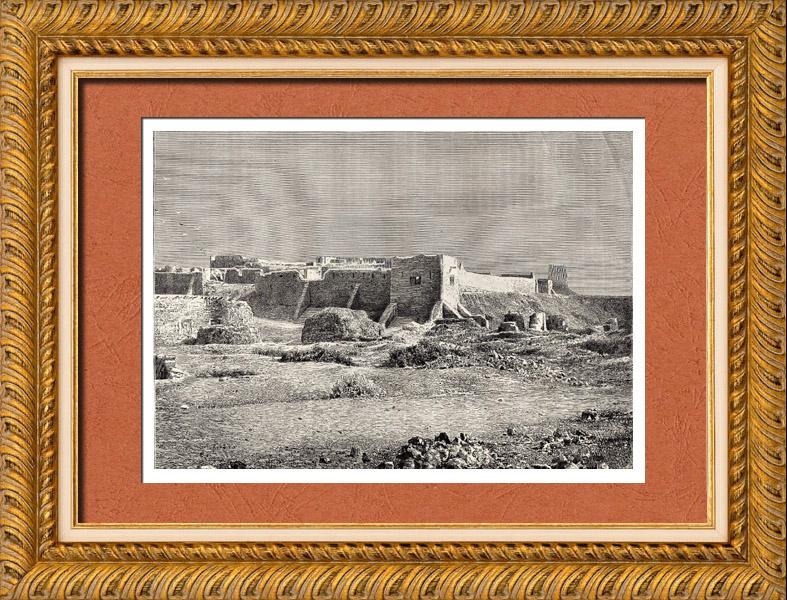 Gravures Anciennes & Dessins | Vue de Biskra (Algérie) - Afrique - Zibans - Oasis - Archéologie | Gravure sur bois | 1882