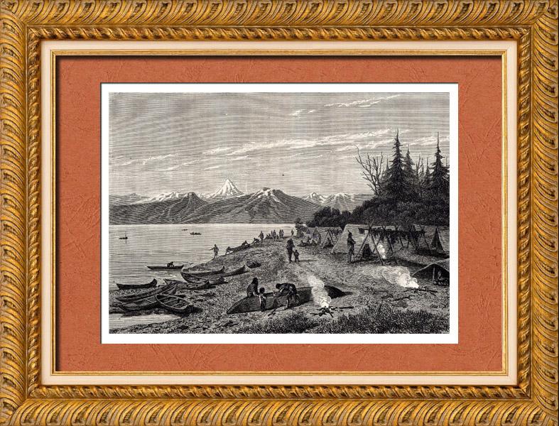 Gravures Anciennes & Dessins | Vue du Fleuve Yukon (Amérique du Nord) - Campement d'Amérindiens - Indiens d'Amérique - Gwich'in | Gravure sur bois | 1882