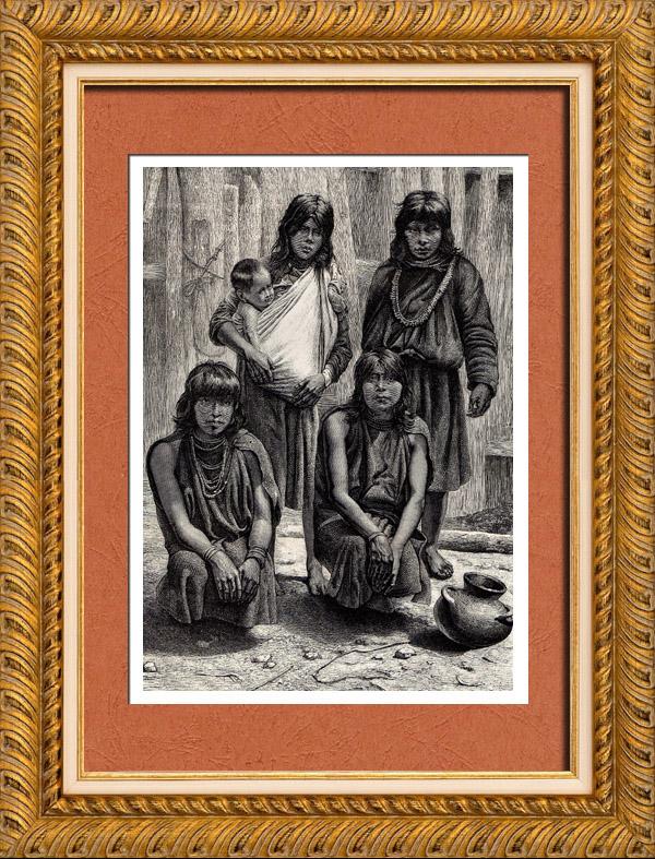 Gravures Anciennes & Dessins   Sud Amérindiens - Indiens d'Amérique - Indigènes - Amérique du Sud   Gravure sur bois   1882