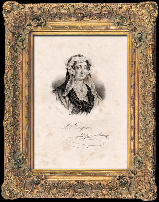Gravures Anciennes & Dessins | Portrait de Adélaïde-Gillette Dufrénoy née Billet (1765-1825) - Poètesse Française | Lithographie | 1840