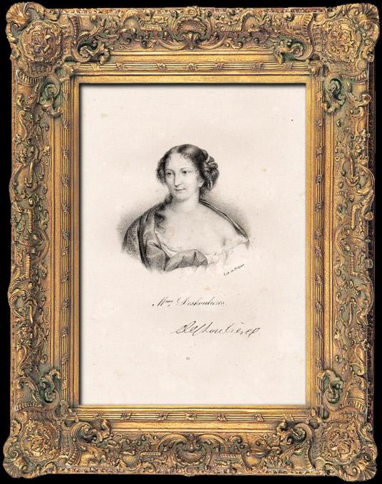 Gravures Anciennes & Dessins | Portrait de Antoinette Des Houlières (1638-1694) - Ecrivain - Poètesse | Lithographie | 1840