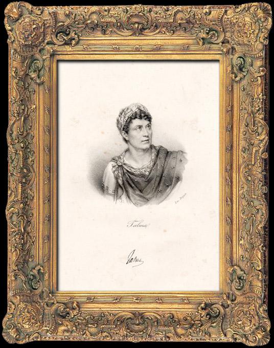 Gravures Anciennes & Dessins   Portrait de François-Joseph Talma (1763-1826) - Acteur Français - Révolution française   Lithographie   1840