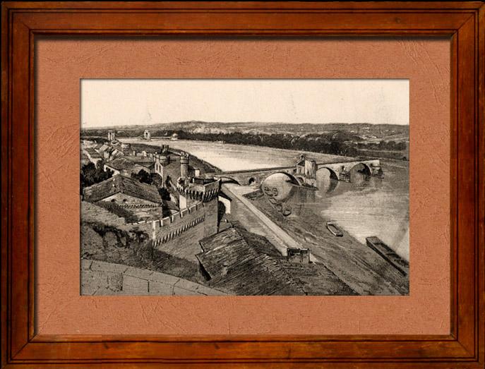 gravures anciennes vue d 39 avignon palais des papes pont saint b n zet ile de bartelasse. Black Bedroom Furniture Sets. Home Design Ideas