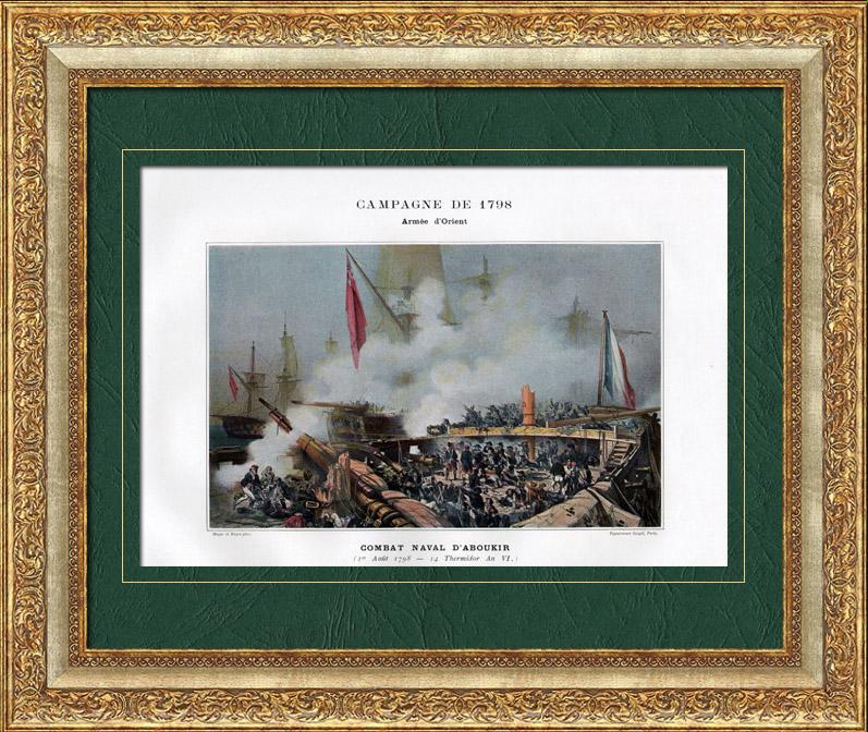 Gravures Anciennes & Dessins | Campagne d'Égypte - Empire Ottoman - Combat Naval - Nelson - Bataille d'Aboukir ou Bataille du Nil - Armée d'Orient - 1er Août 1798 | Typogravure | 1893