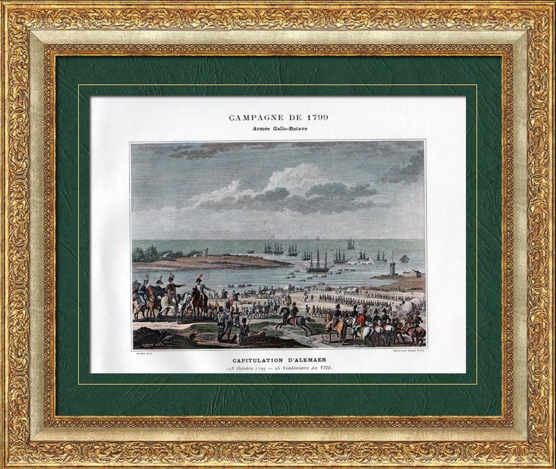 alte stiche koalitionskriege holland niederlande schlacht bei alkmaar 1799. Black Bedroom Furniture Sets. Home Design Ideas
