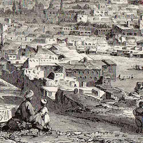 Antika Etsningar Etsning Av Kairo Egypten