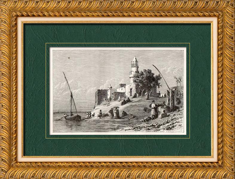 Gravures Anciennes & Dessins   Vue de Beni Suef - Le Caire - Le Nil (Egypte)   Gravure sur bois   1860