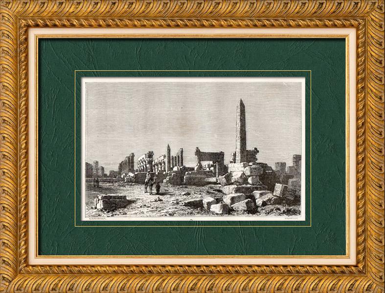 Gravures Anciennes & Dessins   Vue de Karnak - Obélisque - Louxor (Egypte)   Gravure sur bois   1860