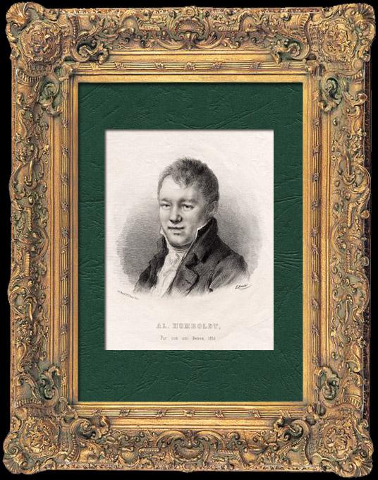 Grabados & Dibujos Antiguos   Retrato de Alexander von Humboldt (1769-1859) - Naturalista Alemán - Explorador    Litografía   1840