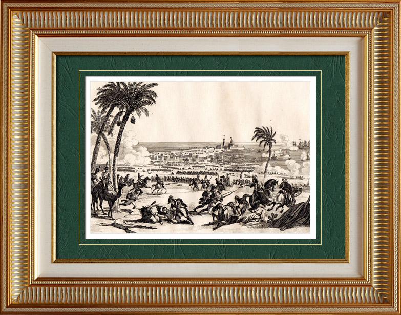 Stampe Antiche & Disegni | Guerre Napoleoniche - La Battaglia di Abukir - La Battaglia del Nilo - Egitto (1798) | Stampa calcografica | 1838