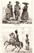 Antique print - Costume of Baden (Germany) - French Troop  - Gendarmerie