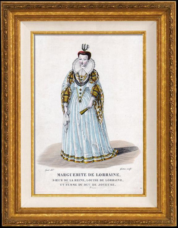 Gravures Anciennes & Dessins   Portrait de Marguerite de Lorraine (1615-1672)   Taille-douce   1850