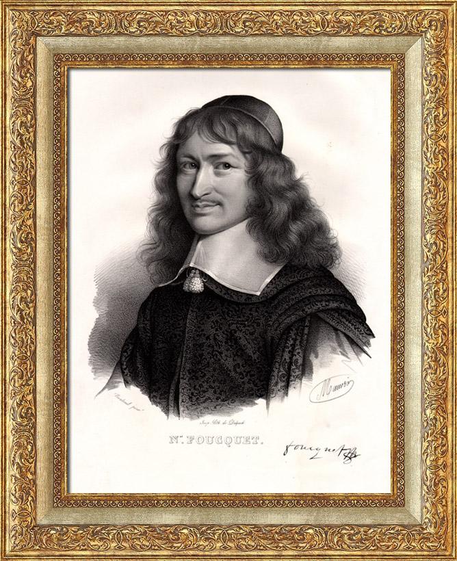 Gravures Anciennes & Dessins   Portrait de Nicolas Fouquet - Surintendant des finances de Louis XIV   Lithographie   1835