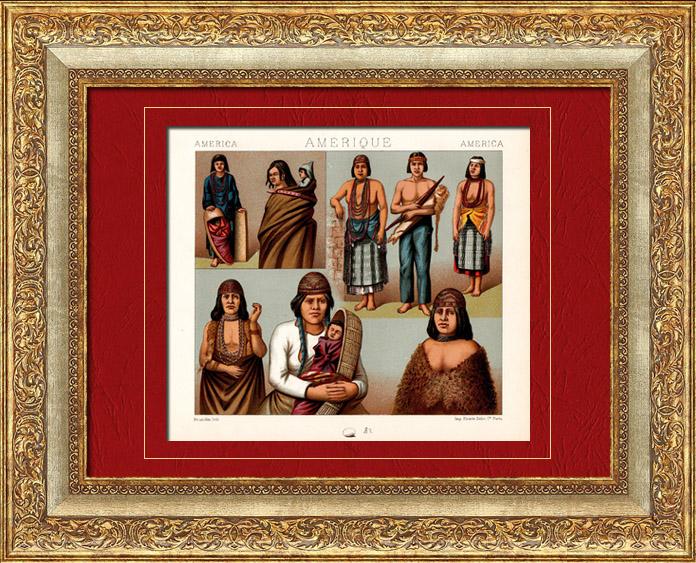 Gravures Anciennes & Dessins   Costume Traditionnel - Amérique - Amérindiens - Indiens d'Amérique   Chromolithographie   1880