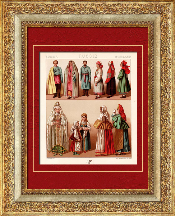 Gravures Anciennes & Dessins | Costume Traditionnel - Russie - Russe | Chromolithographie | 1880