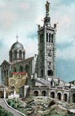View of Marseille - Provence (France) - Basilica Notre-Dame-de-la-Garde - Bonne M�re