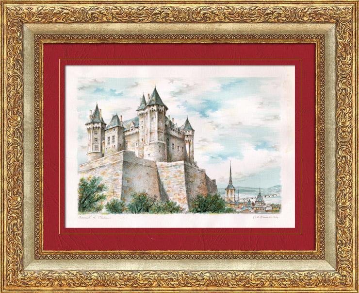 Gravures Anciennes & Dessins | Vue de Saumur - Pays de la Loire (France) - Château | Lithographie | 1960