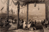 View of Constantinople - Istanbul - Coffee Kiosque on the Port (Turkey)