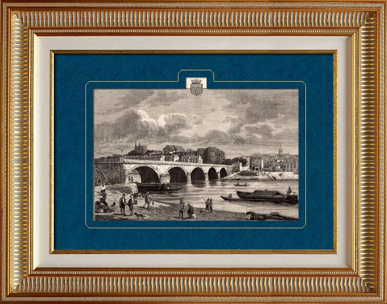 Gravures Anciennes & Dessins   Vue d'Angers - Maine-et-Loire (France)   Gravure sur bois   1881