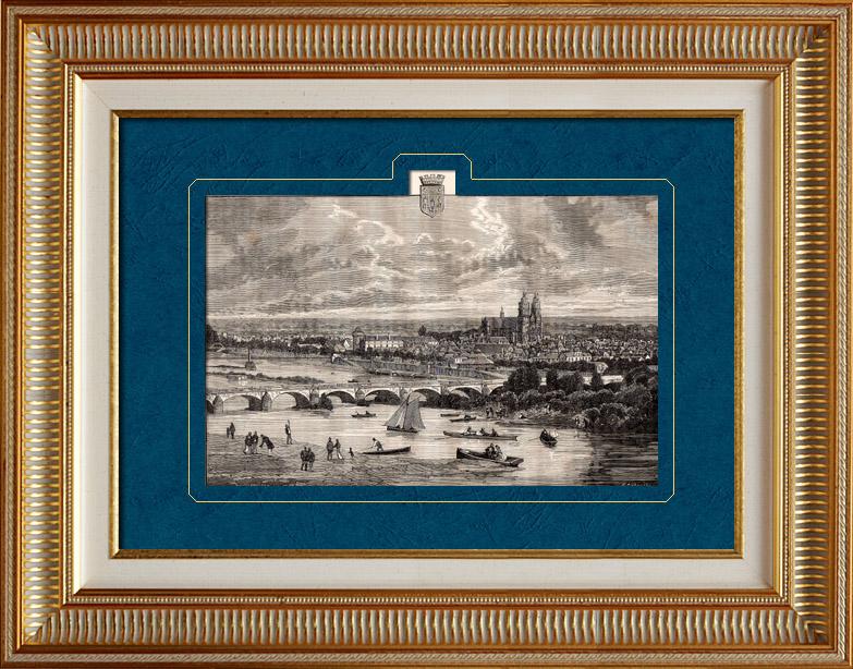 Grabados & Dibujos Antiguos   Vista de Tours - Indre-et-Loire (Francia)   Grabado xilográfico   1881