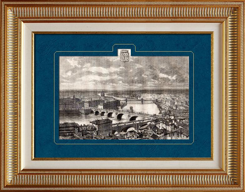 Gravures Anciennes & Dessins   Vue de Toulouse - Midi-Pyrénées (France) - Capitole - Donjon - Tour des Archives   Gravure sur bois   1881