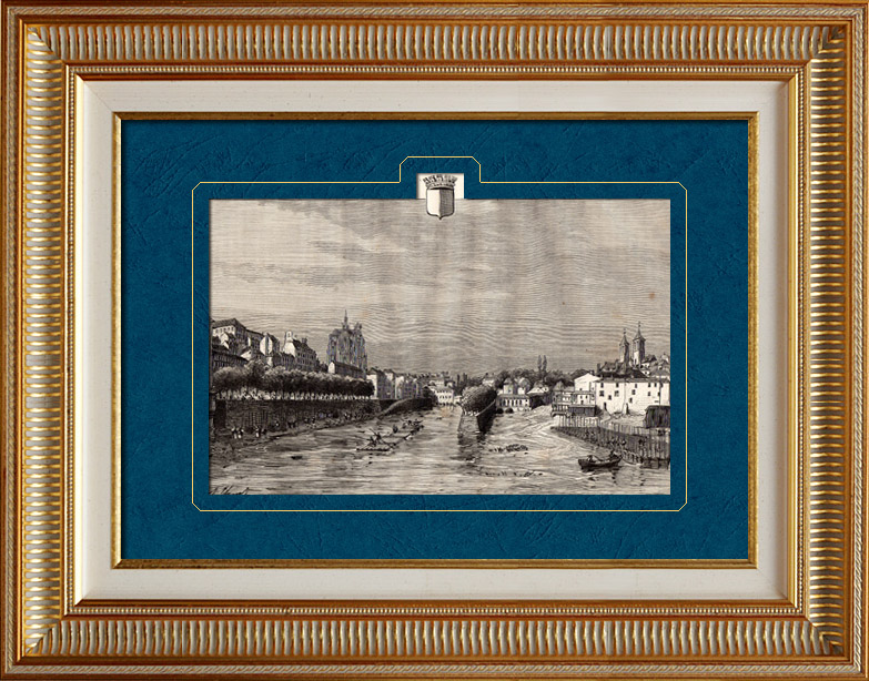 Gravures Anciennes & Dessins | Vue de Metz - Moselle (France) | Gravure sur bois | 1881