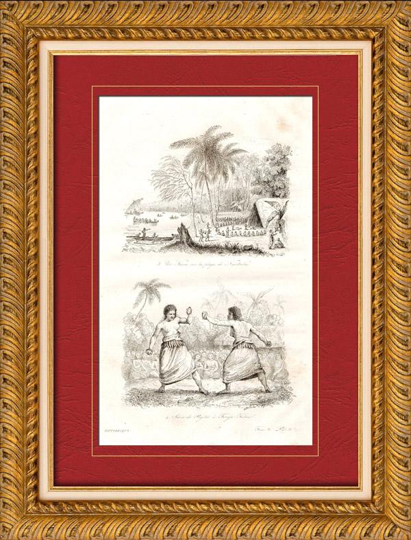 Gravures Anciennes & Dessins   Îles Tonga - Kava sur la Plage de Namouka - Scène de Pugilat - Boxeur - Lutteur   Taille-douce   1835