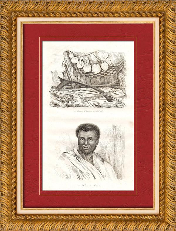 Gravures Anciennes & Dessins   Îles Fidji - Îles Viti - Armes et Ornements - Vanuatu - Habitant de Malekula   Taille-douce   1835