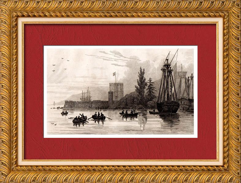grabados antiguos australia vista del fuerte macuario grabado en talla dulce 1836. Black Bedroom Furniture Sets. Home Design Ideas