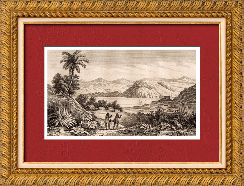 Antique Prints & Drawings | New Zealan - Old House of Kororokoro | Intaglio print | 1836
