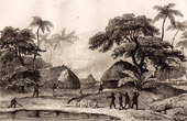 Tonga Islands - The French set fire to the shacks of the Tahofa chief