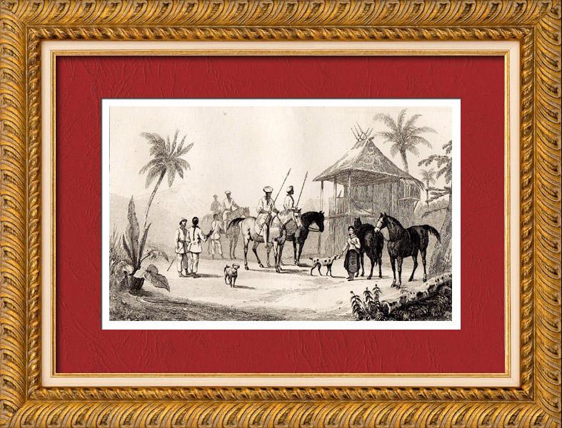 grabados antiguos filipinas cazadores tagalos grabado en talla dulce 1836. Black Bedroom Furniture Sets. Home Design Ideas