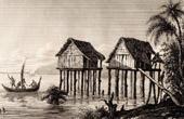 Melanesien - Rawak Islands - Papua Nya Guinea - Hus som byggs p� pilotis