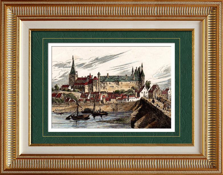 Gravures Anciennes & Dessins | Vue de Gien (Loiret - France) - Région du Centre | Taille-douce | 1835