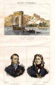 View of Valence (Drôme - France) - Bridge - Portraits of Camille de Montalivet and Championnet