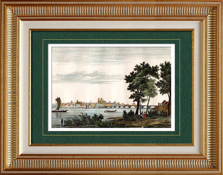 Gravures Anciennes & Dessins   Vue d'Orléans (Loiret - France) - Région Centre   Taille-douce   1835