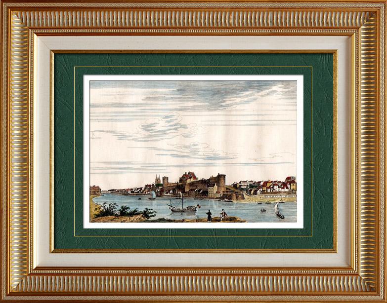Gravures Anciennes & Dessins | Vue d' Angers (Maine-et-Loire - France) - Pays de la Loire | Taille-douce | 1835