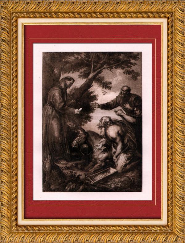 Gravures anciennes peinture miracle de saint antoine for Miroir st antoine